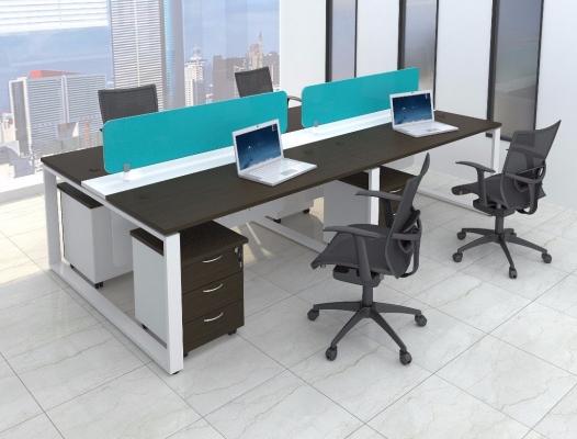 4 gang AIM Desking system with square metal leg