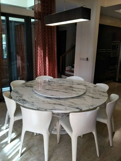 White Marble Dining Table - Arabescato Corchia Marble