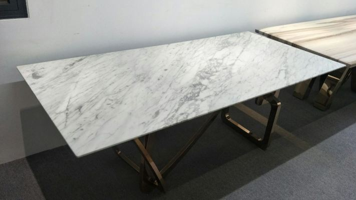 White Marble Dining Table - Statuario White Marble