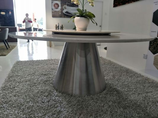 Modern Dining Table Base - Staineless Steel Hairline