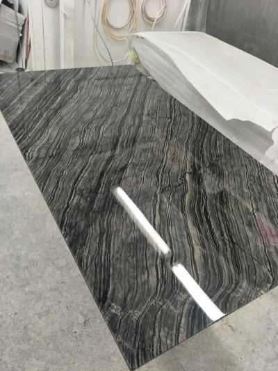 Dark Marble Dining Table - Antique Wood Marble