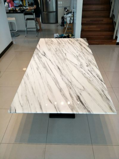 White Marble Dining Table - Arabescato Salita