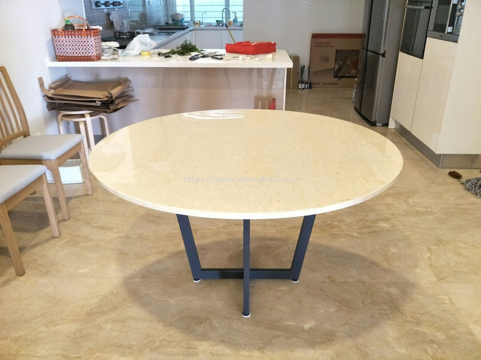 Beige Marble Dining Table