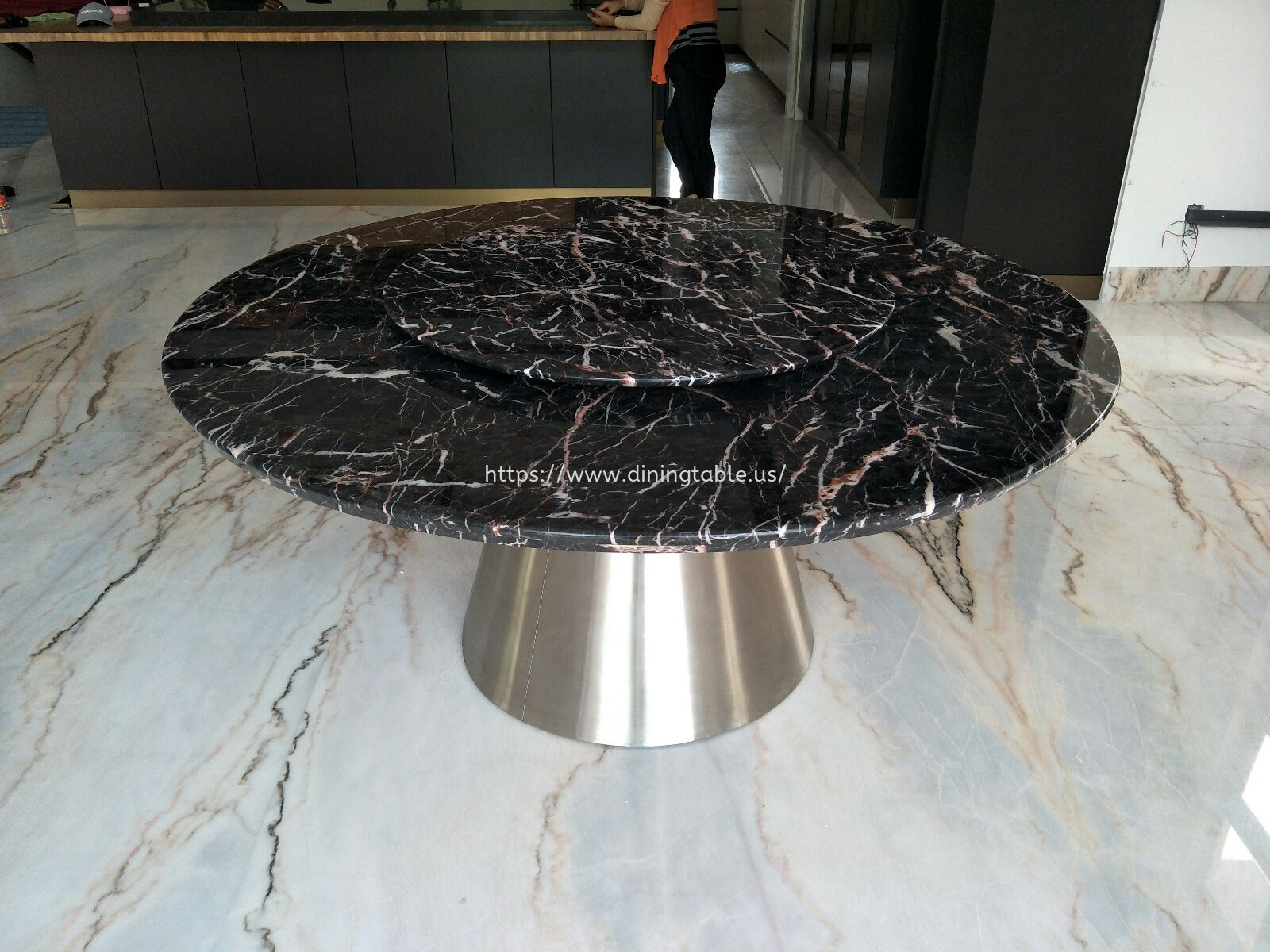 Black Marble Dining Table - Round