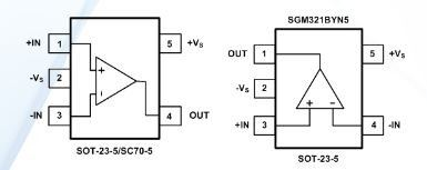 SG Micro Micro Power OpAmps SGM321 - 1MHz, 60μA, Rail-to-Rail Input and Output CMOS Operational Amplifier