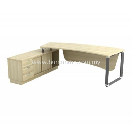 DIRECTOR TABLE METAL PYRAMID LEG C/W WOODEN MODESTY PANEL & SIDE CABINET Q-OXL 2463 (Table Top 41THK)