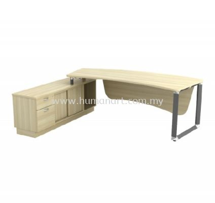 DIRECTOR TABLE METAL PYRAMID LEG C/W WOODEN MODESTY PANEL & SIDE CABINET Q-OXL 2462 (Table Top 41THK)