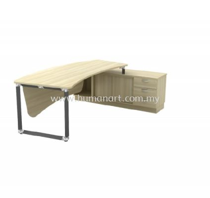 DIRECTOR TABLE METAL PYRAMID LEG C/W WOODEN MODESTY PANEL & SIDE CABINET Q-OXR 2463 (Table Top 41THK)
