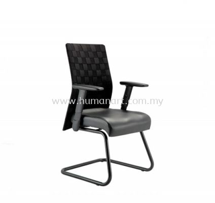 TRION EXECUTIVE VISITOR LEATHER CHAIR WITH EPOXY BLACK CANTILEVER BASE