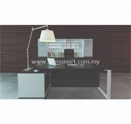EXECUTIVE TABLE METAL O-LEG C/W WOODEN MODESTY PANEL & SIDE CABINET FULL SET MO 99 WALNUT (FRONT)