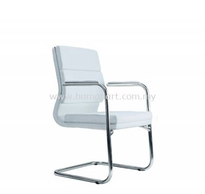 QUODRO (A) EXECUTIVE VISITOR LEATHER CHAIR WITH CHROME TRIMMING LINE