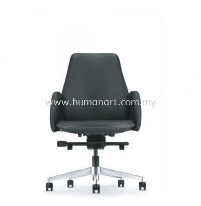 EVE DIRECTOR LOW BACK LEATHER CHAIR WITH ALUMINIUM BASE AND FIXED ARMREST AEV 6413L-A