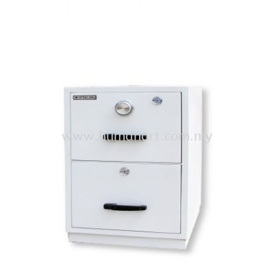 FIRE RESISTANT CABINET 2 DRAWER WHITE SIDE VIEW BLUE GREY COLOR