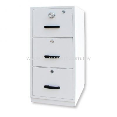 FIRE RESISTANT SAFETY BOX 3 DRAWER WHITE COLOUR SIDE VIEW  - uptown pj | tropicana | solaris
