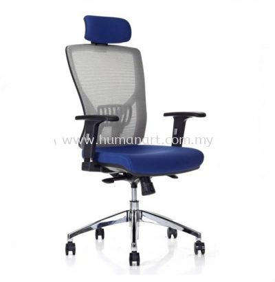 SANIE HIGH BACK ERGONOMIC MESH CHAIR WITH ADJUSTABLE ARMREST AND CHROME BASE