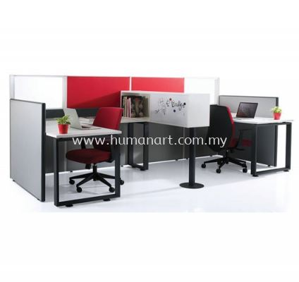 "2 CLUSTER L-SHAPE WORKSTATION C/W FULL FABRIC PARTITION C/W METAL ""O"" LEG, METAL STAND & HANGING CABINET"