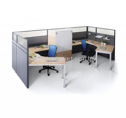 2 CLUSTER L-SHAPE WORKSTATION C/W HALF GLASS PARTITION, METAL LEG & CABINET