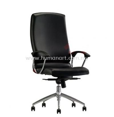 DR2 DIRECTOR MEDIUM BACK LEATHER CHAIR WITH ALUMINIUM BASE