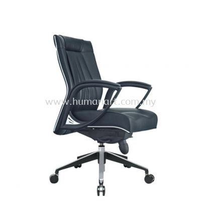 JESSI II DIRECTOR LOW BACK LEATHER CHAIR C/W CHROME TRIMMING LINE