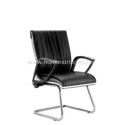 VITTA DIRECTOR VISITOR LEATHER CHAIR C/W CHROME TRIMMING LINE