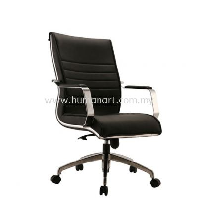 MAXIMO DIRECTOR MEDIUM BACK LEATHER CHAIR C/W CHROME TRIMMING LINE ACL 9 (B)