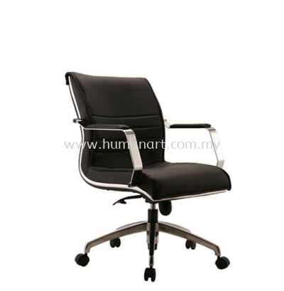 EMAXIN(B) DIRECTOR LOW BACK LEATHER CHAIR C/W CHROME TRIMMING LINE