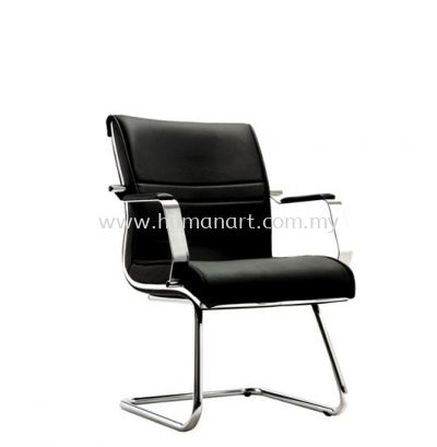 MAXIMO DIRECTOR VISITOR LEATHER CHAIR C/W CHROME TRIMMING LINE ACL 7