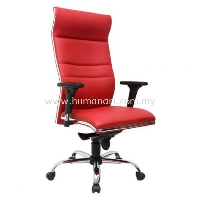 ZOLO(B) DIRECTOR HIGH BACK LEATHER CHAIR C/W CHROME TRIMMING LINE