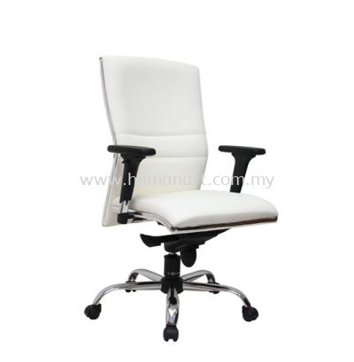 ZOLO(B) DIRECTOR MEDIUM BACK LEATHER CHAIR C/W CHROME TRIMMING LINE