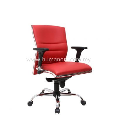 ZOLO(B) DIRECTOR LOW BACK LEATHER CHAIR C/W CHROME TRIMMING LINE