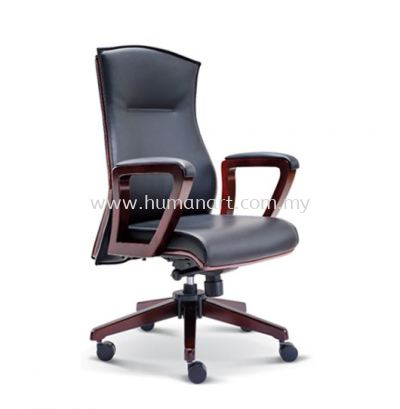 EMILY DIRECTOR MEDIUM LEATHER BACK CHAIR WITH WOODEN TRIMMING LINE