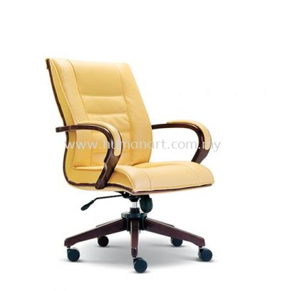 SAB DIRECTOR MEDIUM LEATHER BACK CHAIR WITH WOODEN TRIMMING LINE