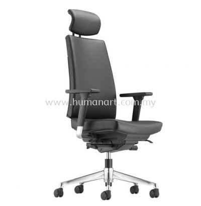 CLOVER EXECUTIVE HIGH BACK LEATHER OFFICE CHAIR WITH ALUMINIUM DIE-CAST BASE - salak south | balakong | exchange 106@trx
