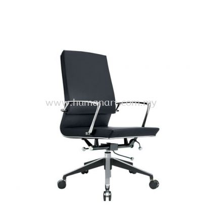 NIDOZ EXECUTIVE MEDIUM BACK LEATHER CHAIR WITH CHROME TRIMMING LINE