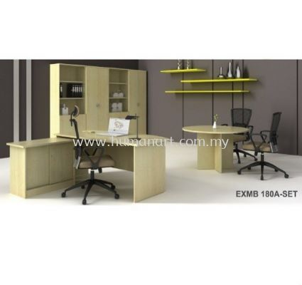 EXECUTIVE TABLE WOODEN BASE WITH SIDE CABINET EXMB 180A-FULL SET