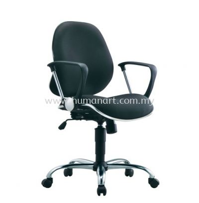 RIXIS SECRETARIAL LOW BACK FABRIC CHAIR WITH CHROME TRIMMING LINE
