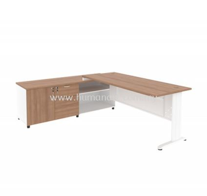 EXECUTIVE TABLE METAL J-LEG C/W STEEL MODESTY PANEL & SIDE CABINE TMJ 99 (L)