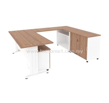 L-SHAPE TABLE METAL J-LEG C/W STEEL MODESTY WITH MOBILE PEDESTAL 3D & SIDE CABINET MJ 88 (R)