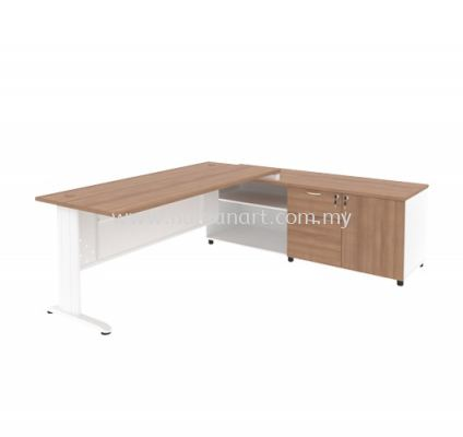 EXECUTIVE TABLE METAL J-LEG C/W STEEL MODESTY PANEL & SIDE CABINE TMJ 99 (R)
