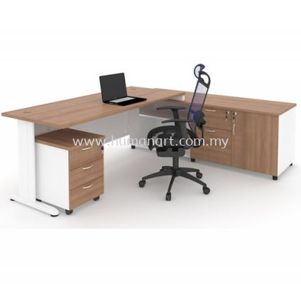 EXECUTIVE TABLE METAL J-LEG C/W STEEL MODESTY PANEL WITH SIDE CABINET & MOBILE PEDESTAL 3D MJ 99
