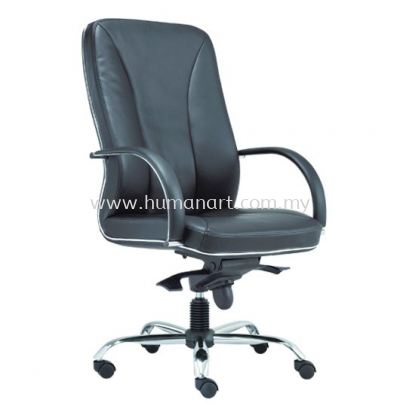 CERIA DIRECTOR HIGH BACK LEATHER CHAIR WITH CHROME TRIMMING LINE