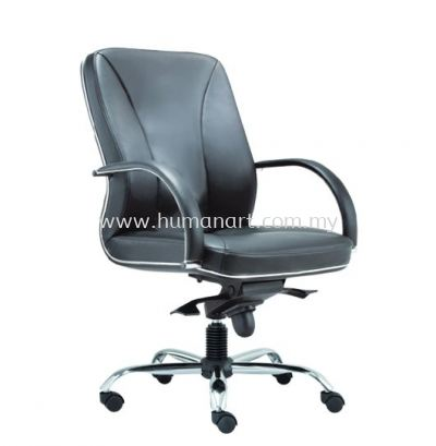 CERIA DIRECTOR MEDIUM BACK LEATHER CHAIR WITH CHROME TRIMMING LINE