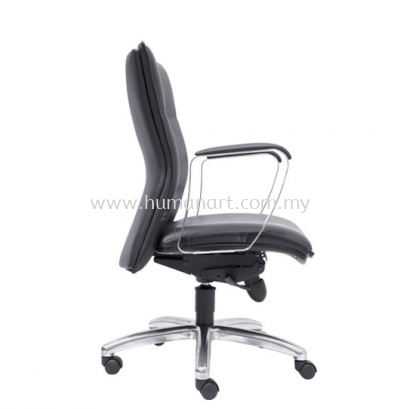 HALLFAX DIRECTOR LOW BACK LEATHER CHAIR C/W ALUMINIUM DIE-CAST BASE