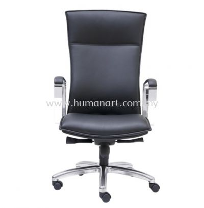 HALLFAX DIRECTOR HIGH BACK LEATHER CHAIR C/W ALUMINIUM DIE-CAST BASE