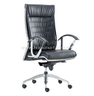 BAROS DIRECTOR HIGH BACK LEATHER CHAIR C/W CHROME TRIMMING LINE