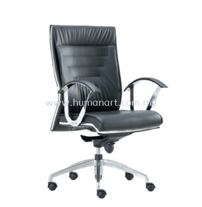 BAROS DIRECTOR MEDIUM BACK LEATHER CHAIR C/W CHROME TRIMMING LINE
