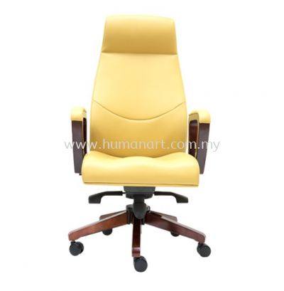 AMBER DIRECTOR HIGH BACK LEATHER CHAIR C/W RUBBER-WOOD WOODEN ROCKET BASE