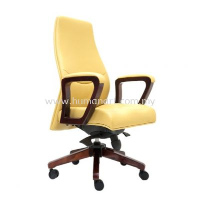 AMBER DIRECTOR MEDIUM BACK LEATHER CHAIR C/W RUBBER-WOOD WOODEN ROCKET BASE