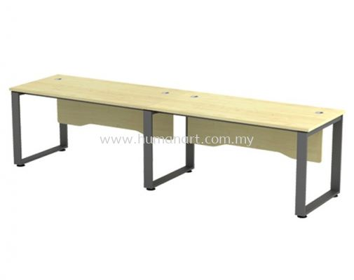 CLUSTER OF 2 WORKSTATION METAL O-LEG C/W WOODEN MODESTY PANEL SQWT 157-2