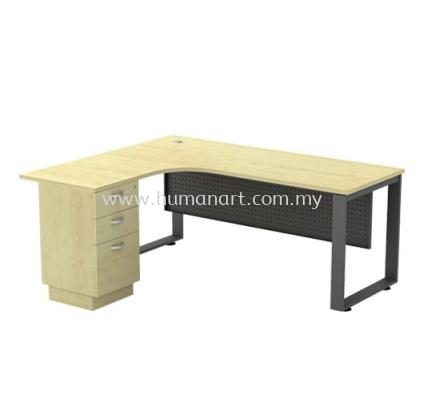 L-SHAPE TABLE METAL O-LEG C/W STEEL MODESTY PANEL & FIXED PEDESTAL 3D SQML 1515-3D